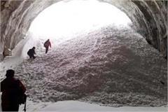 glacier fall in north portal of rohtang tunnel