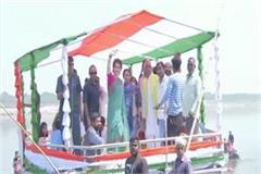 priyanka gandhi s boat journey begins worship at sangam coast