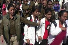 charged haryana police hit girls with shoe