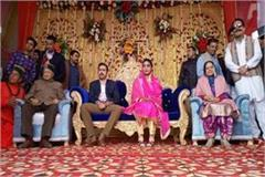 people blessed to newly married couple in marriage reception of vikramaditya