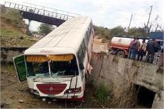 bus fall into drain driver critical injured