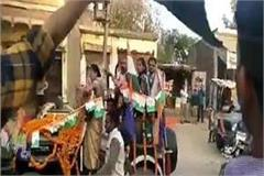 black flag shown by congress workers on krishna patel during roadshow