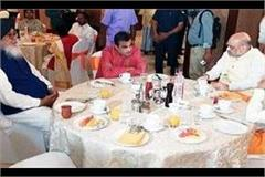 before the nomination of pm modi the nda unity seen on breakfast