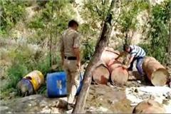 busted liquor factory in forest