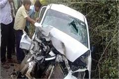 up a road accident in bahraich painful death of son of bjp leader