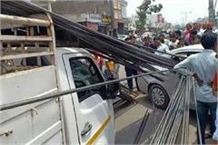 road accident in ambala car driver injured