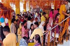 crowd of faith on the birth anniversary of ma baglamukhi
