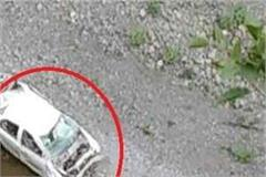 car caught in a deep ditch on arki kunihar road