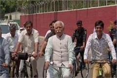 chief minister manohar on the occasion of world cycle day