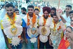football championship winner player welcome in sonipat