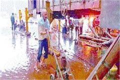 rain water pouring into the wagonshop of railway workshop