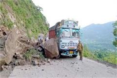 rock fall on truck