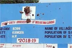dung throw on photo of mahatma gandhi