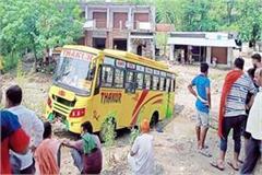 buses stranded in ravine