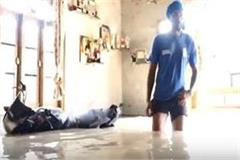 swimming pool becomes home to kabaddi player due to flood