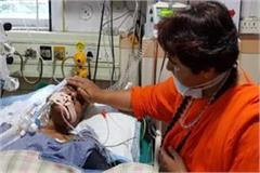 pragya thakur reached to know the condition of babu lal gaur