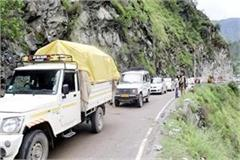 heavy vehicle stop in bhuntar manikaran road