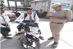 una police school two wheeler minor caught