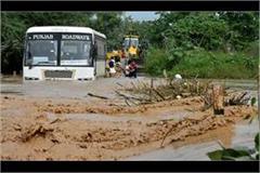 punjab roadways bus stuck in rainy water
