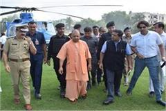 yogi did aerial survey of flood affected areas