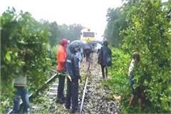 kushinagar trees fell on railway track traffic disrupted