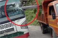 how the hrtc bus broke the glass entered the water pipes in the tipper
