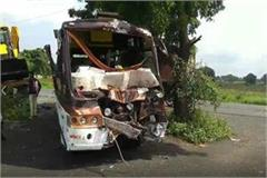 high speed container hits bus 22 passengers injured