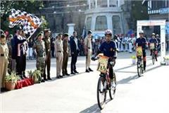 governor gave green flag to cleanliness fortnight cycle rally