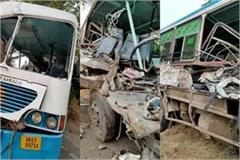 major accident a fierce collision between truck and bus