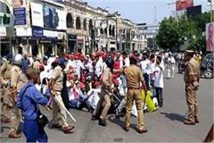 hathras scandal police beaten up many injured going to fast on gandhi statue
