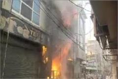 fierce fire in handloom showroom in panipat 6 fire brigade vehicles