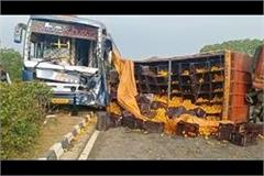 big accident sleeper bus collided with farmers truck narrow survivors
