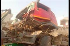 tragic accident fierce collision between two trucks driver dead