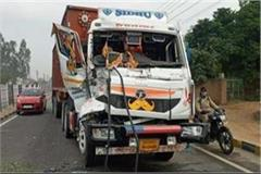 big crash on jalandhar pathankot highway collision between two trucks