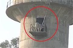 bull climbed 60 feet high water tank