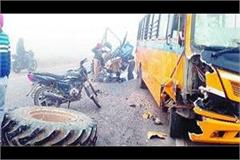 road accident school bus carrying delhi langar collided with tractor