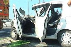 road accident on national highway car collides truck