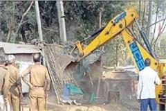 public works department runs yellow claw on encroachment