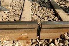train passing through broken tracks between badaun