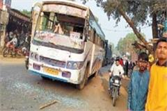 miscreants attacked private bus injured riders attackers absconding