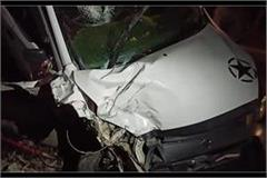 strong collision in car tractor near petrol pump one injured