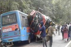 hrtc bus collided strongly then overturned