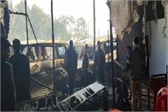 fire at mahindra showroom in gwalior trade fair 6 vehicles burnt