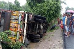 trola overturned rice sacks driver narrowly saved