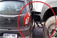 tipper and sharp collision in car at sharp turn near bagalamukhi temple