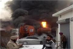 fire in diesel tankers standing in warehouse