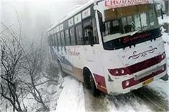 2 buses skid on snow