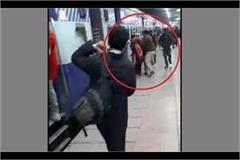a lady narrow escaped to fall from running train