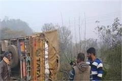 truck overturns on nh from ghumarwin to shimla