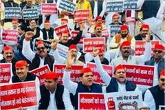 budget session sp congress workers demonstrate with placards